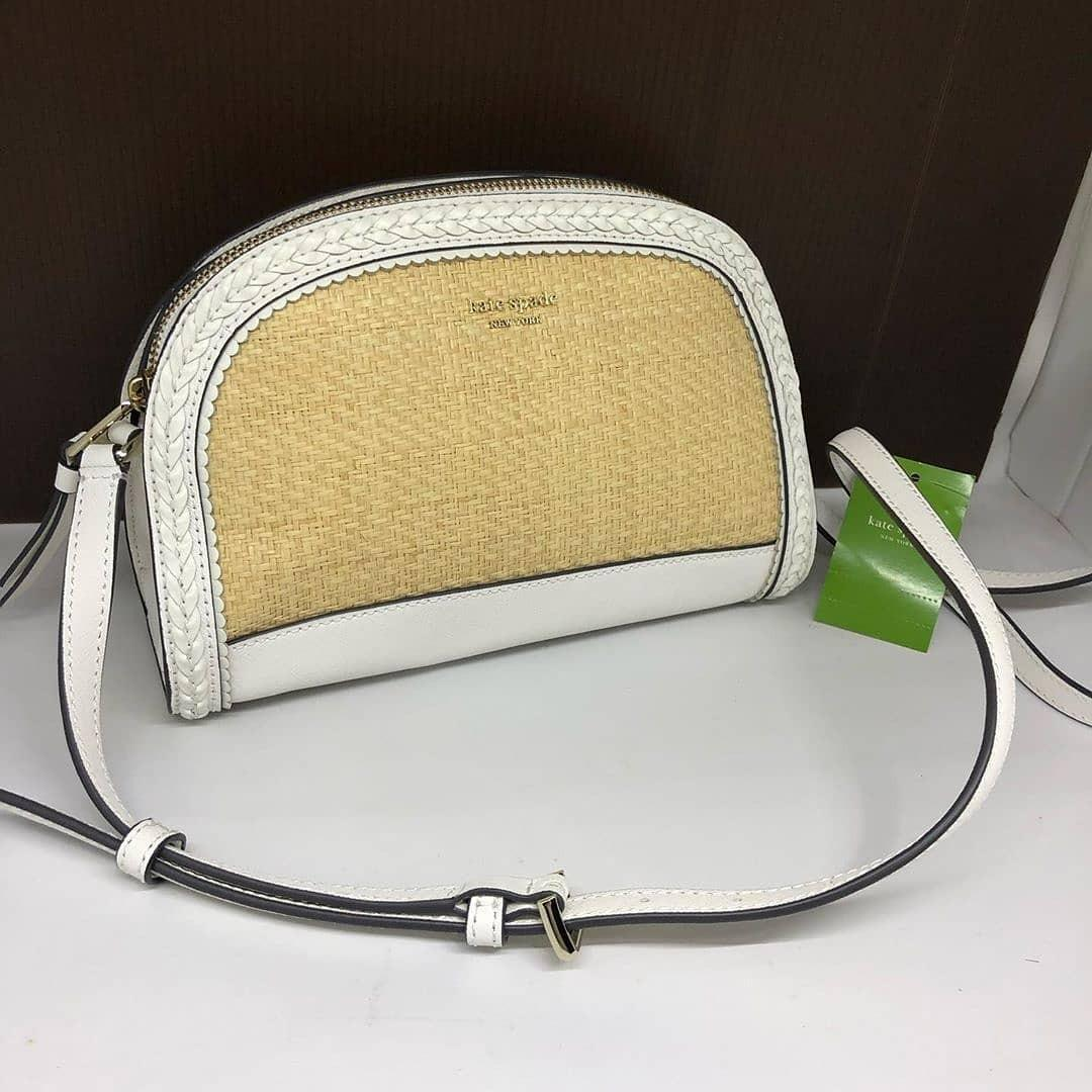 Kate Spade Reiley Straw Think Summer Dome Crossbody sz 24x16 in Bright White