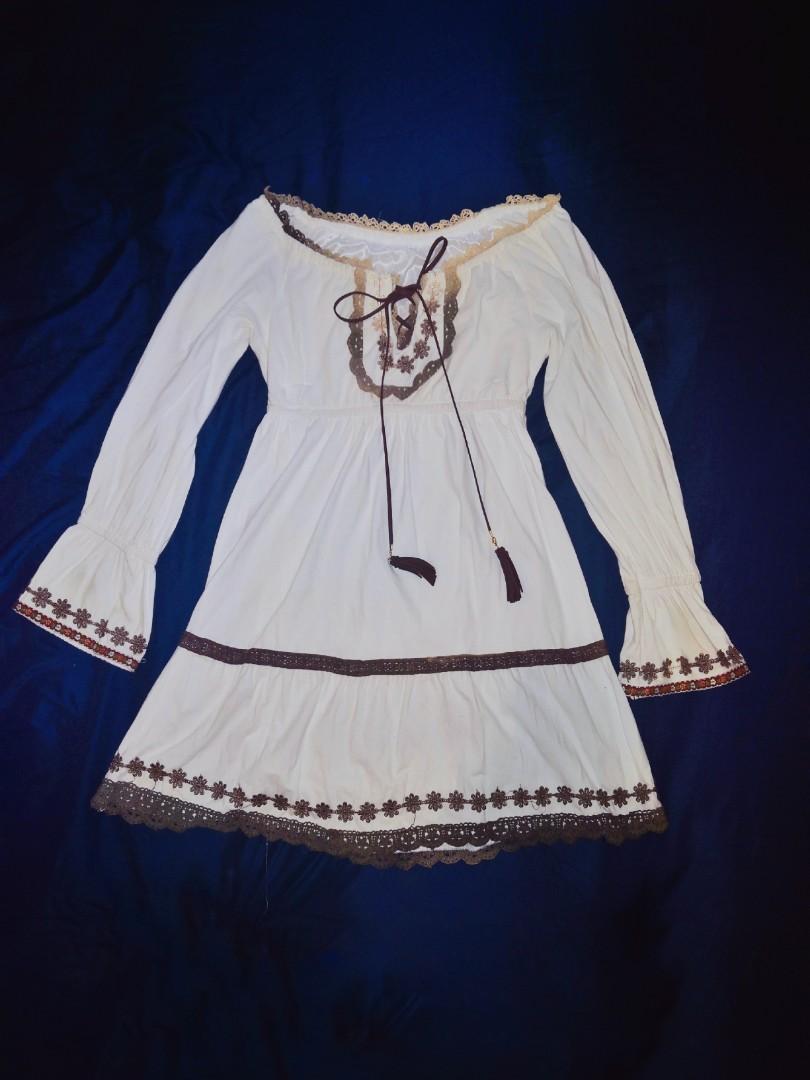 Liz Lisa Japanese Style White Dress One Piece with Tassel