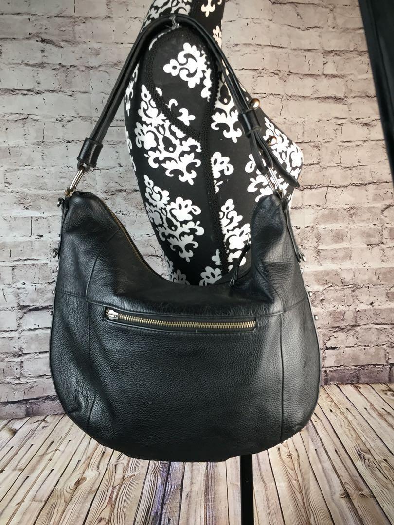 LUCKY BRAND Medium Black Leather Slouch Shoulder Handbag
