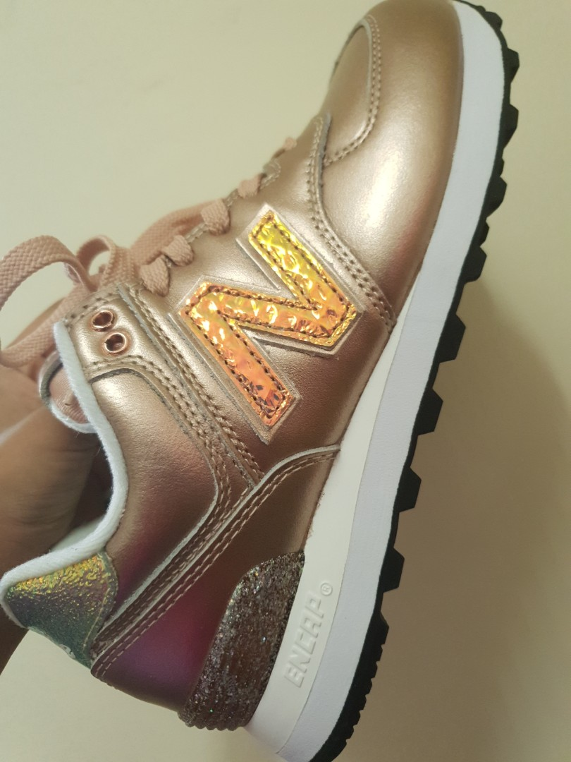 buy popular c380d 6a1bd NEW BALANCE LIMITED EDITION 574 GLITTER PUNK SNEAKERS ROSE GOLD