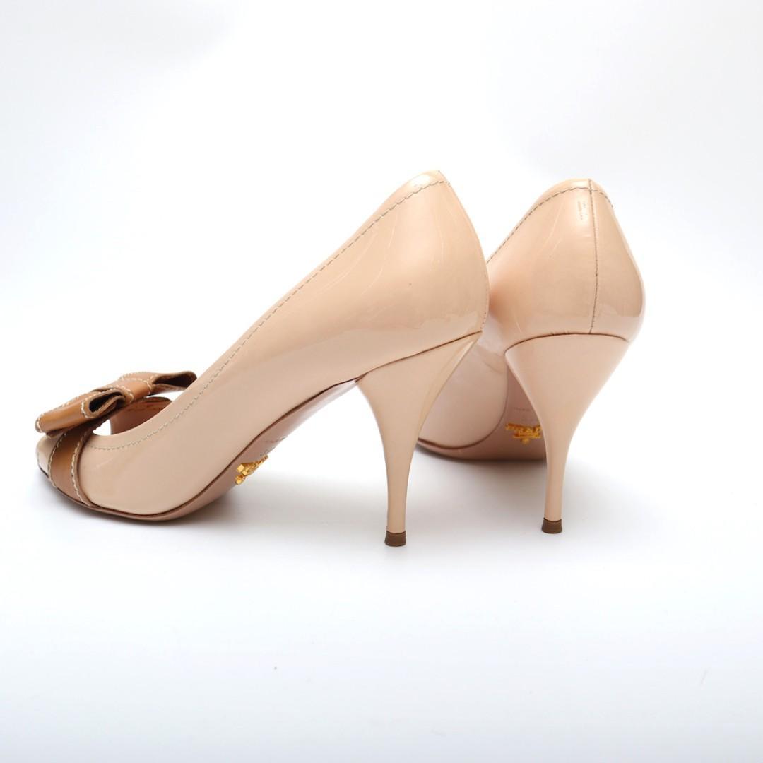 Prada 粉色蝴蝶結 魚口高跟鞋