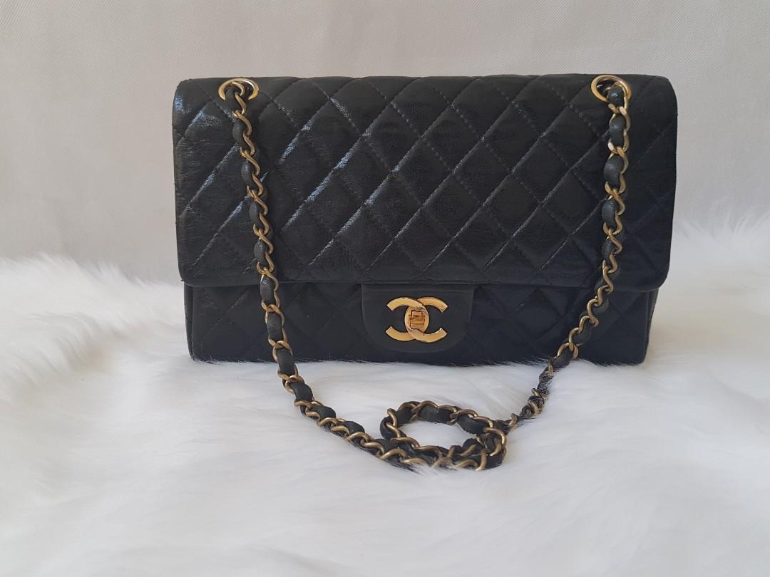 Authentic Chanel medium double flap black bag