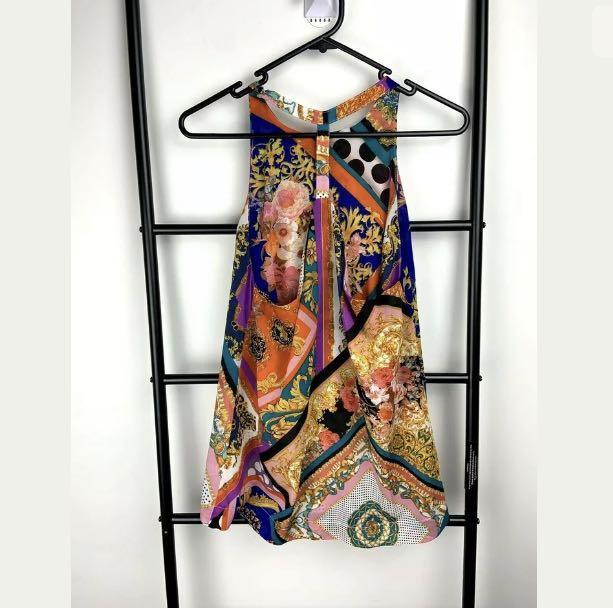 Sheike sz 8 floral multicolour tank top shirt blouse smart casual semi sheer
