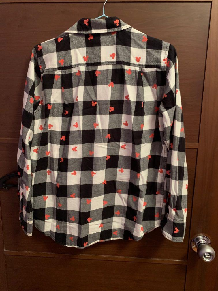uniqlo limited edition checkered disney mickey mouse flannel button up shirt