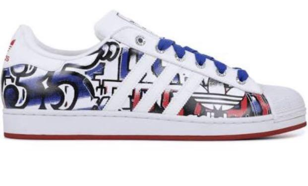 VERY RARE ~LIMITED EDITION ~VTGADIDAS SUPERSTAR 35th ANNIVERSARY GRAPHIC White red blue Graffiti Shell US 7