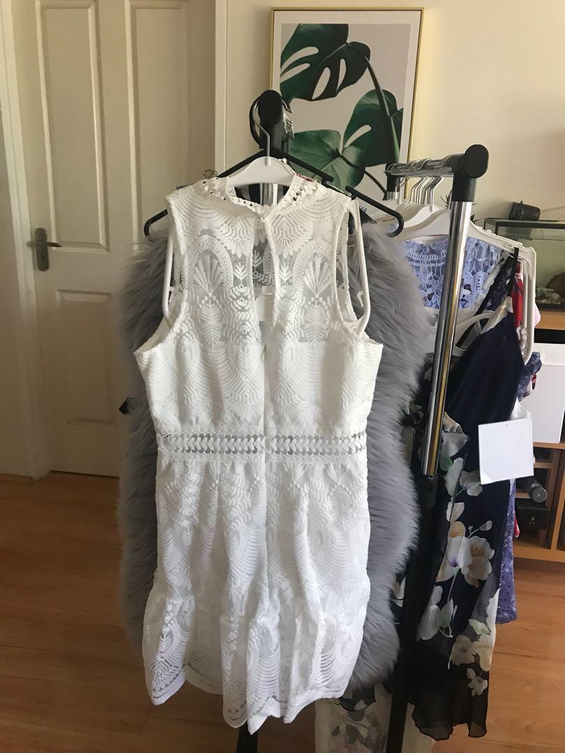 (White) Beautiful lace sleeveless dress lace bridesmaid mini skirt