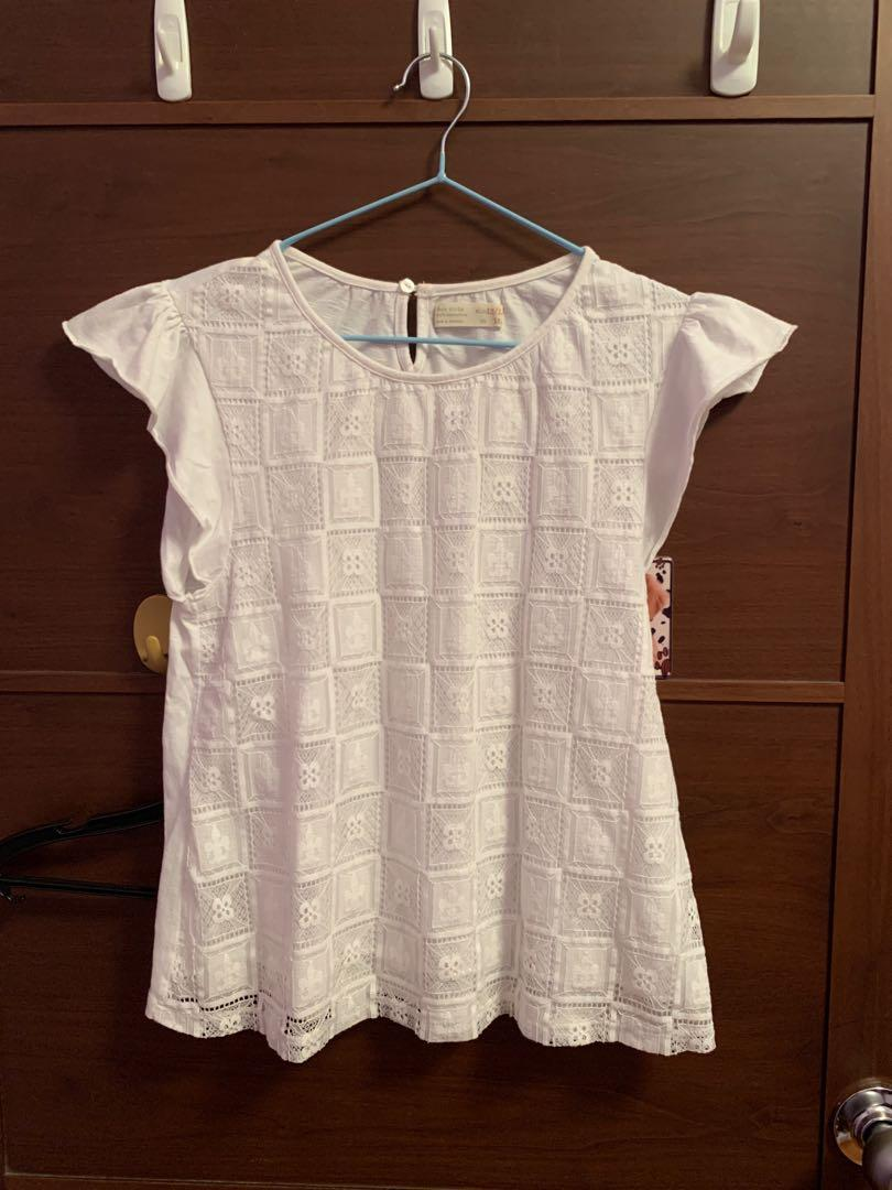 ZARA white lace flared top