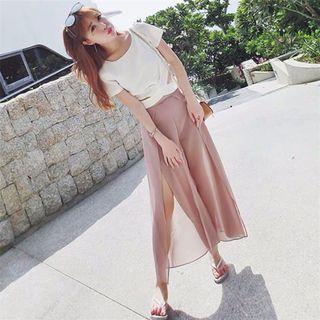全新 new full set 兩件裝 白色衫 粉紅色褲裙