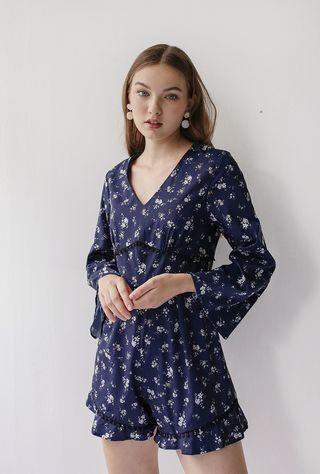 TTR The Tinsel Rack Jules Flare Sleeve Romper (Navy Floral)