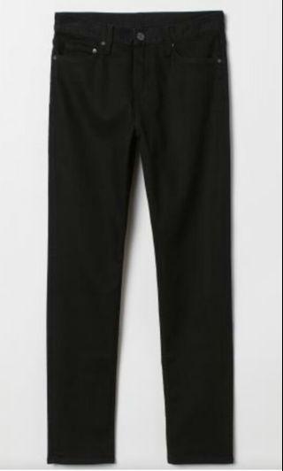 Brand New: H&M Slim Men Demin Long Black Jeans