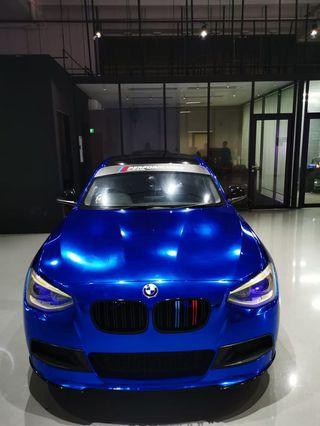 Chrome Blue Wrapping Service