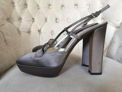Prada silk grey dress shoes 39.5