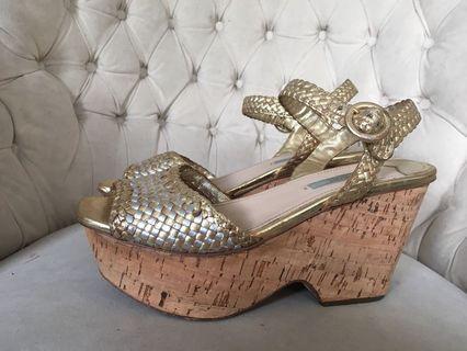 Prada Gold and Silver braided platform sandals 38