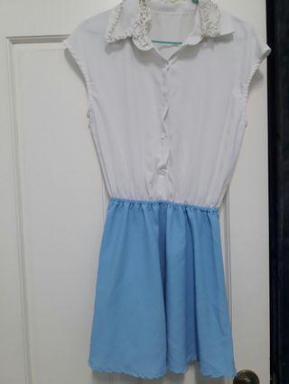 🚚 白色雪紡連身洋裝