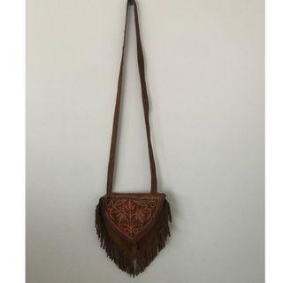 Tree of Life Faux Suede Bag