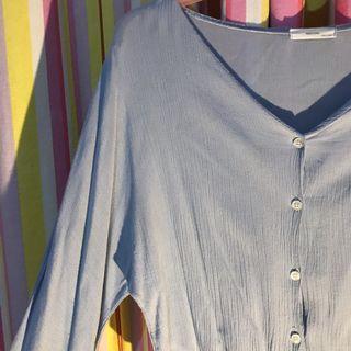 (Made in Korea) Pastel Blue Summer Blouse