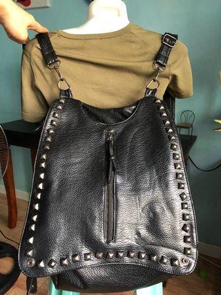 Black leather Korean bag