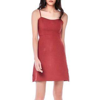 The Editors Market Maroon/Rosewood Syami Fitted Dress