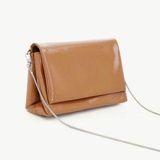 Pomelo Brown Glossy Envelope Cross Body Bag