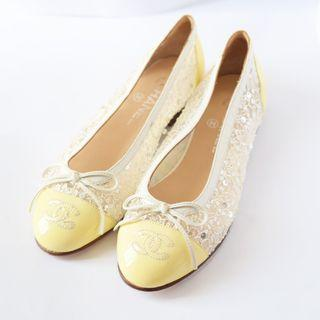 Chanel Flats in Yellow Patent Sequin