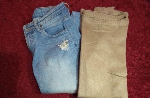 Paket ripped jeans dan sweater