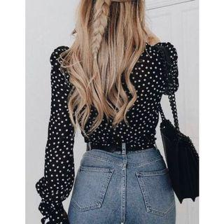 Navy polka dot long sleeve top