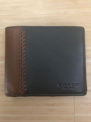 Coach Baseball Stitch Men's Leather Compact ID Wallet