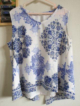 Blue Pattern Tops