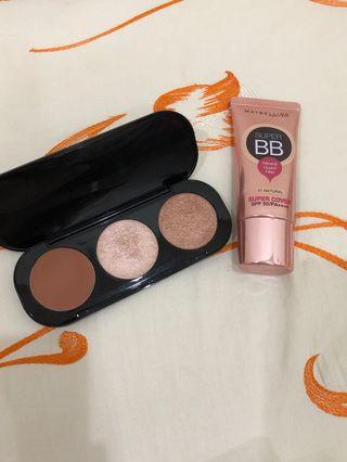 Preloved maybelline bb cream dan focallue blush&highlighter pallete