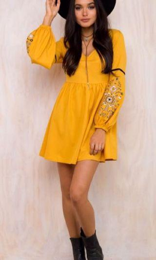 Lily of the Valley Mustard Dress