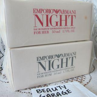 RARE CLEARANCE ! EMPORIO ARMANI NIGHT FOR HIM 50ml EDT + FOR HER EDP 50ml perfume TESTER set