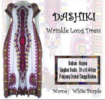Dashiki Long Wrinkle Dress