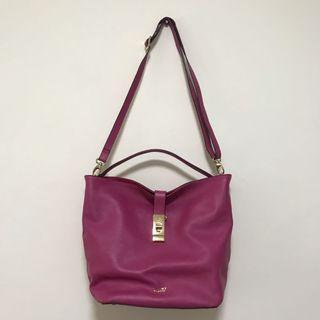 (Price slashed) Pink leather handbag / sling bag