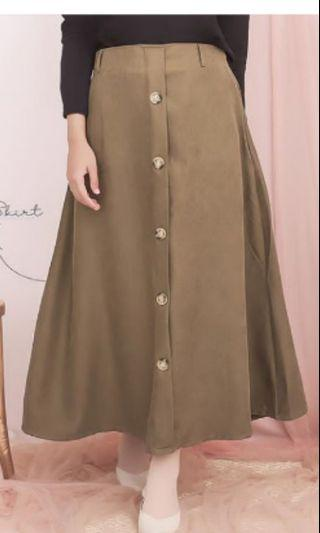 Button skirt army, rok a line suede