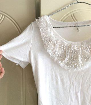 韓國東大門白色珍珠高貴短版T恤