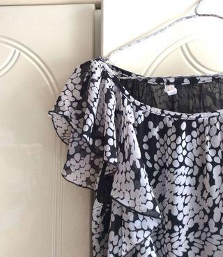 全新韓國東大門黑白連身裙