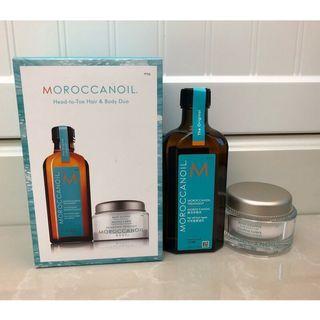 摩洛哥優油Moroccanoil~經典舒芙蕾禮盒~125ml摩洛哥優油+45ml舒芙蕾身體潤澤露(正貨)