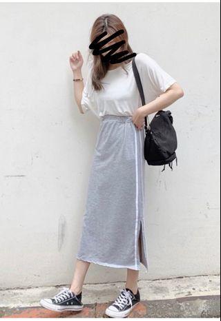 🚚 白線側邊開岔窄裙(灰)