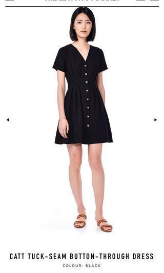 🚚 TEM CATT TUCK-SEAM BUTTON-THROUGH DRESS IN BLACK