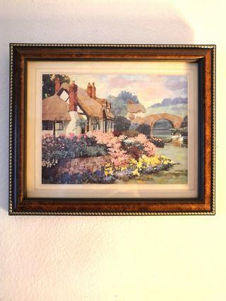 """Rare Wall Painting cottage by the lake    11.3"""" x 9.3"""""""
