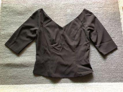 Collate black 3/4 sleeve top