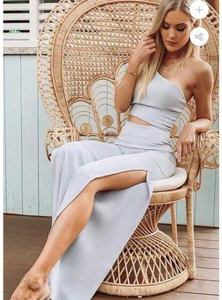 MB the Label- Baby Blue Wrap Crop Top and Pant Set