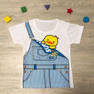 🚚 全新現貨~小雞吊帶褲圖案兒童T恤 男童 女童 童裝 (尺寸90)夏日輕薄透氣純棉上衣