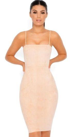 OH POLLY Nude suede dress
