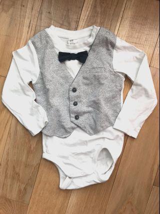 H&M Dapper Bow Tie Vest Bodysuit