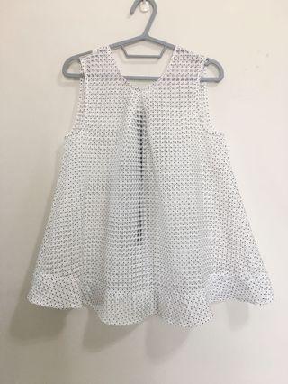 🚚 無袖格紋點點娃娃上衣 洋裝