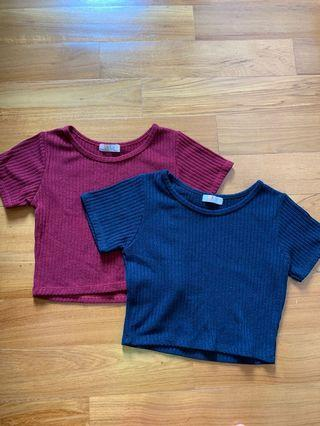 Knit top in blue and red