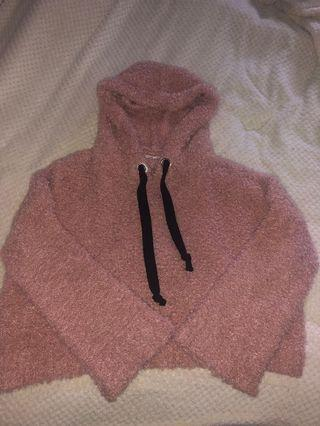 Pink fluffy cropped jumper with hood