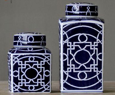 🚚 Pair of ceramic ginger jars