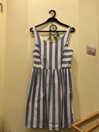 6IXTY 8IGHT BN blue and white candy striped dress